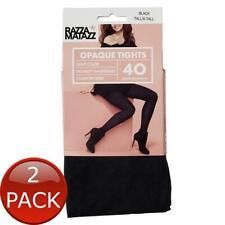 2 x RAZZAMATAZZ OPAQUE COMFORT TIGHTS BLACK TALL/X-TALL 1 PACK WOMEN PANTYHOSE