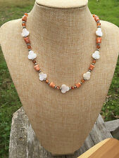 White Mother of Pearl Shell Beads Handmade Necklace Rosa Marble, Red Agate, and