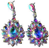 AB Chandelier Earrings Rhinestone Crystal 3 inch