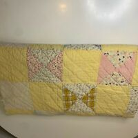 vintage quilt hand sewn blanket bedding yellow square print 50x72 throw twin