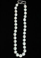 """Natural 18"""" Whte Almost Round 13MM Pearl necklace"""