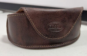 Fossil Brown Leather Sunglasses Case Soft Shell Pouch Protective Travel Carrier