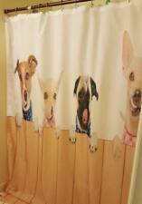 """Extra Long 84"""" Dogs On Fence Cloth Shower Curtain Pug Chihuaha Jack Russel"""