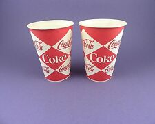 Coca Cola - Pair of Original 1960s Unused Waxed Cups - Diamond Design