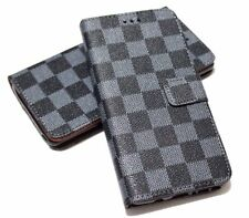 For SAMSUNG GALAXY S8 PLUS - Book Style Gray Black Plaid Case Cover Card Wallet