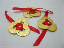 3 x 3 Chinese Golden I-Ching Double Dragon Coins tied with red Ribbon(CO35)