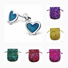 Le ragazze per bambini 925 Argento Sterling Orecchini a Bottone Cuore Blu-Sacchetto di Seta