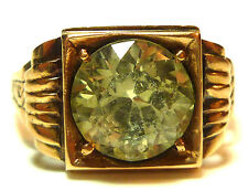 VICTORIAN NOUVEAU MENS WOMENS 18K YELLOW GOLD GREEN CRYSTAL SOLITAIRE RING SIZE6