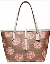 New coach Coated Canvas Signature Rose Print Market  Bag 31700 chalk Tan Gold