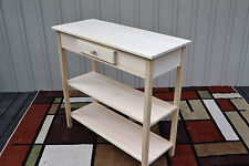 Unfinished Pine Tall Foyer Entry Table TV Stand Shaker Square Edge w/2 Shelves