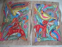 Mexican Folk Art Amate Bark Painting Guerrero Tropical Bird Deer Pair Wall Art