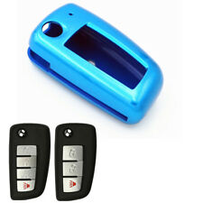 Blue Paint Plastic Remote Flip Key Case Cover Chain for Nissan Rogue KBRASTU15