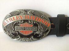 """Harley Davidson Buckle & Belt (All Sizes 30"""" – 50"""") Black & Orange Oval Design"""