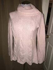minnie rose 100% cashmere baby pink cable knit turtleneck sweater S