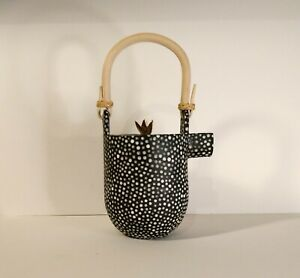 Black and White Stoneware Teapot with 22k Gold Luster