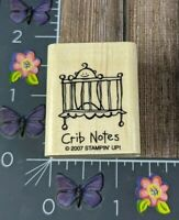 Stampin Up Crib Notes Rubber Stamp 2007 New Baby Shower Announcement #I95
