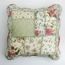 Shabby Chic Throw Cushion / Pillow Cover Pink Powder Blue Green Patchwork 45cm