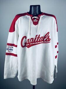 Men'S CCM Washington Capitals Hockey Throwback Rib Knit White Sweater NWT Small