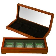 4 Coin Slabs Oak Display Case Glass Lid Safe Deposit / Gift Box PCGS NGC Holders