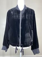 J.Crew Women's Plus Size 2XL XXL Black Velvet Bomber Jacket Ties Striped Lining