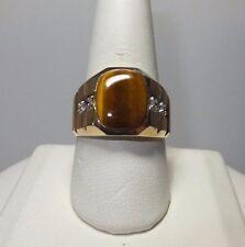 MARCA NEW 14 Quilates Oro Amarillo Original De Tigre Ojo & Diamante man's Anillo