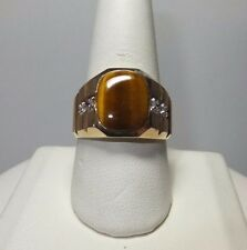 Brand New 14 Karat Yellow Gold Genuine Tiger's Eye & Diamond Man's Ring