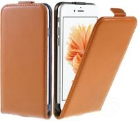 iPhone 8 7 6 6S SE 5S 5C 4 Genuine Leather Flip Case Slim Cover+Screen Protector