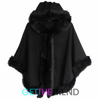 Womens Fur Trim Hooded Cape Ladies Black Winter Overall Coat Poncho Jacket