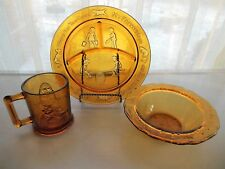 Tiara Indiana Glass Amber Child's Nursery Rhyme Plate & Bowl & Mug Set
