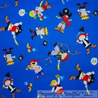 BonEful Fabric FQ Cotton Quilt Blue Red White PIRATE Ship Boat Parrot Bird Boy S