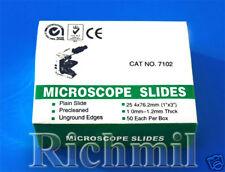 250 New Microscope Slides Plain Clear Edges, 5 Boxes