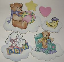 Daisy Kingdom Lucy Rigg Baby Nursery Wall Hanging Set Bear Duck Bunny Train Vtg