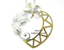 SILVER 925 HAWAIIAN PLUMERIA MAILE LEAF LEAVES HEART PENDANT YELLOW GOLD PLATED