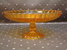 Aufgesetzte Konfeckt Schale Plätzchen Orange Obst  Pressglas Sammler Glas