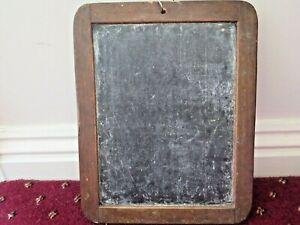 Antique Original Edwardian School Writing Slate Board Chalkboard Wooden Frame