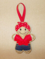 Rockabilly Gingerbread (Red) Felt / Embroidered Hanging decoration ornament