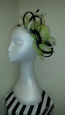 Black cream/ivory citrus lime green fascinator wedding/races special occasion