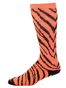 Pizzazz 8090AP Neon Orange And Black Small Zebra Striped Knee High Socks