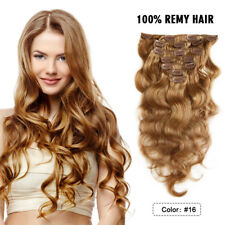100% Real Thick Full Head Long Clip in Real Human Hair Extensions 18 inch 100g