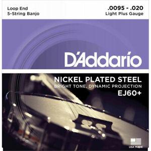 D'Addario EJ60+ Light+ 9.5-20 - Jeu de cordes Banjo 5 cordes plaqué nickel