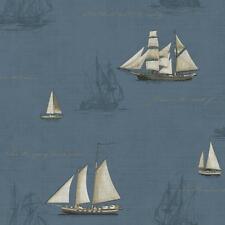Wallpaper Sail Boats & Sailing Ships on Dark Blue Gold Script