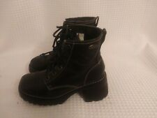 Sketchers Black Leather Platform Chunk Heel Combat Ankle Boots Womens Size 6.5