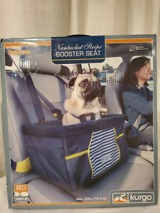 Kurgo Nantucket Stripe Booster Seat For Dogs up To 30 Lbs w/harness option. Box