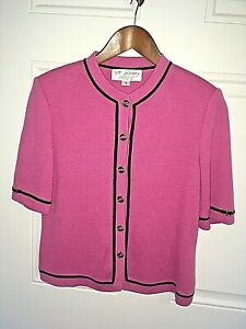 ST JOHN PINK BLACK WOOL BLEND BUTTON FRONT SHORT SLEEVE TOP MADE IN USA SIZE 2