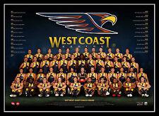 2017 AFL Official West Coast Eagles Team Print Framed - LeCras Priddis Kennedy