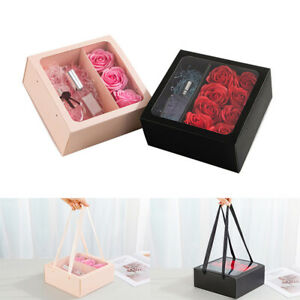 Square Gift Box Clear Window Drawer Style Boxes Florsit Candy Flower Packaging t