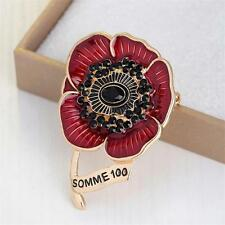 2017 New Red Crystal Rhinestone Poppy Flower Brooch Pin Badge Remembrance Gift
