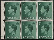 Sg457b 1936 Unmounted booklet pane. Cyl. E4 no dot, perf. E. E2122