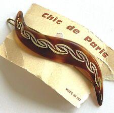 Vintage Hair Barrettes - Tortoise Shell wave barrette with gold design - France
