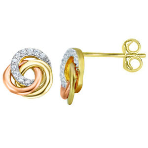 14k Tri-tone Gold Cubic Zirconia 3-Ring Knot Earring Studs